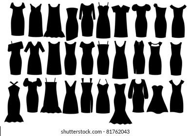 Set of woman little black dresses