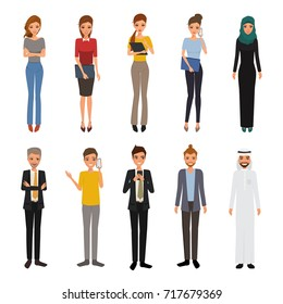 Set of woman and man character. avatar people vector design. business man and business woman collection.