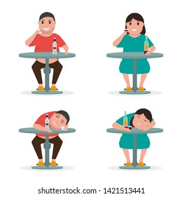 Set woman and man drink at table and get drunk. Inebriated person sleeps after drinking alcohol. Alcohol addiction. Vector illustration isolated on white background, flat style.