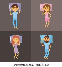set woman and man sleeping with good night