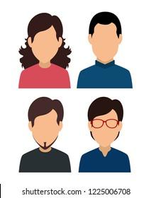set woman and men social media profile