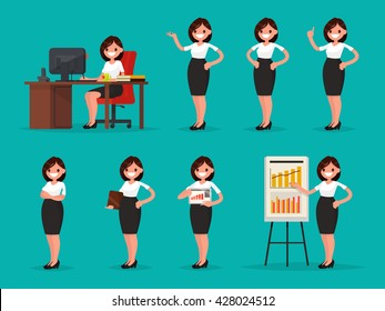 Set woman office worker in various situations. Vector illustration of a flat design
