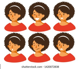 Set of woman s emotions. Facial expression. Beautiful girl emoji with a variety of facial expressions. Girl Avatar. Vector illustration of a flat design.