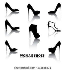 Set of woman shoes silhouettes with reflections.  Black female fashion icons isolated on white. Vector illustration.