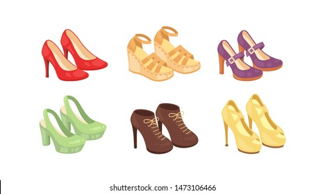 Set of woman shoes vector icons isolated on white background. Fashion footwear design collection.