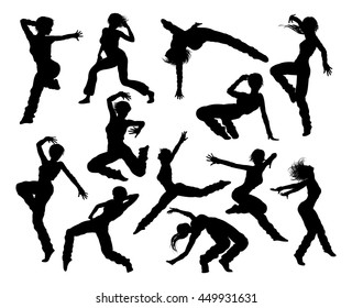 A set of woman street dance hip hop dancer silhouettes