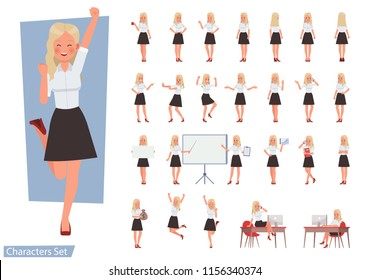 Set of woman wear white shirt character vector design. Presentation in various action with emotions, running, standing and walking.
