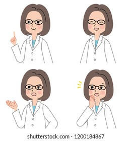 Set of woman wearing a white coat in different poses