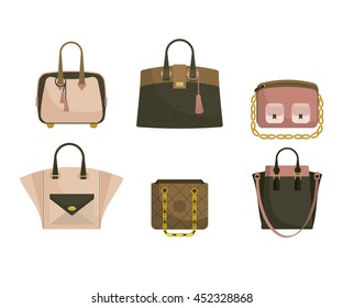 Set of woman's bags in pink and green