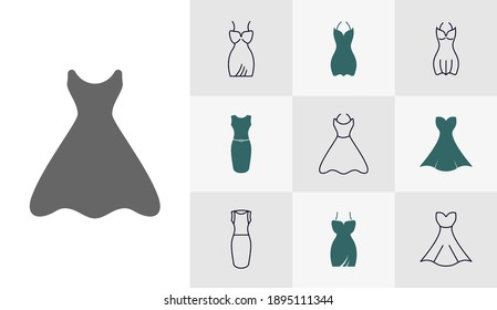 Set of woman's clothes icon logo design vector template, Fashion icon concepts, Creative design