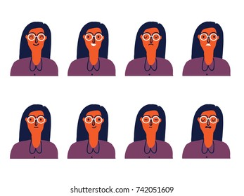 Set of woman's emotions. Facial expression. Vector illustration.