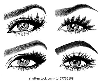 Set with woman's eyes, eyelashes and eyebrows. Makeup Look. Tattoo design. Logos for brow bar or lash salon.