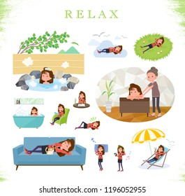 A set of women in the 90's dress about relaxing.There are actions such as vacation and stress relief.It's vector art so it's easy to edit.