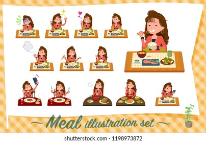 A set of women in the 90's dress about meals.Japanese and Chinese cuisine, Western style dishes and so on.It's vector art so it's easy to edit.