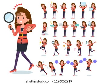 A set of women in the 90's dress with digital equipment such as smartphones.There are actions that express emotions.It's vector art so it's easy to edit.