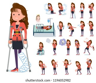 A set of women in the 90's dress with injury and illness.There are actions that express dependence and death.It's vector art so it's easy to edit.