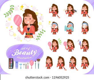 A set of women in the 90's dress on beauty.There are various actions such as skin care and makeup.It's vector art so it's easy to edit.