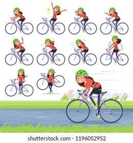 A set of women in the 90's dress on a road bike.There is an action that is enjoying.It's vector art so it's easy to edit.