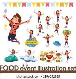 A set of women in the 90's dress on food events.There are actions that have a fork and a spoon and are having fun.It's vector art so it's easy to edit.