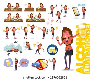 A set of women in the 90's dress related to alcohol.There is a lively appearance and action that expresses failure about alcohol.It's vector art so it's easy to edit.