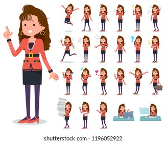 A set of women in the 90's dress with who express various emotions.There are actions related to workplaces and personal computers.It's vector art so it's easy to edit.