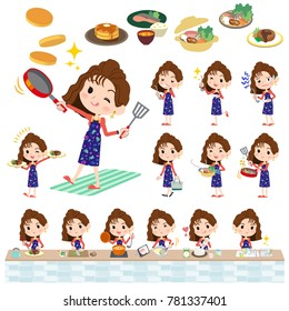 A set of women about cooking. There are actions that are cooking in various ways in the kitchen. It's vector art so it's easy to edit.