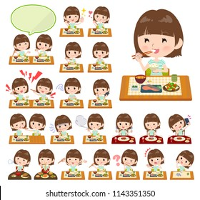 A set of women about meals.Japanese and Chinese cuisine, Western style dishes and so on.It's vector art so it's easy to edit.