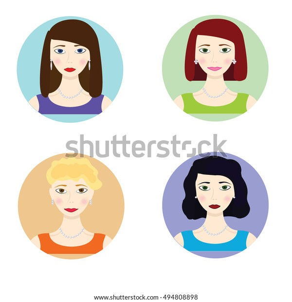 Set Women Avatars Different Hairstyle Website Stock Vector