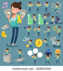 A set of women & baby with concerning money and economy. There are also actions on success and failure. It's vector art so it's easy to edit.
