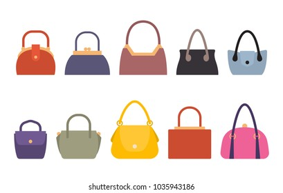 Set of women bags stylish accessories for females vector illustration isolated on white. Leather handbags, bags with handles and locks fashionable purses