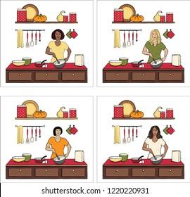 Set of Women Baking Vector Illustrations Isolated on White