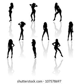 Set of women in bikini, vector
