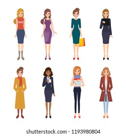 Set of women character in job   and lifestyle collection.