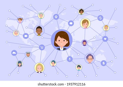A set of women disseminating information on social media.It's vector art so easy to edit.