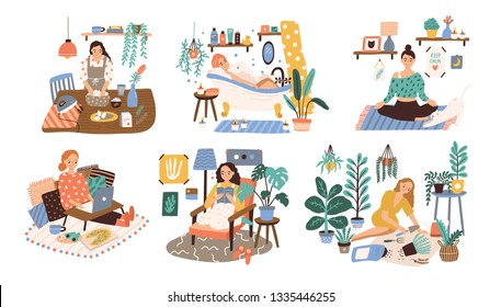 Set of women enjoying their free time, performing leisure activities and doing hobbies - cultivating home garden, meditating, taking bath, reading book, cooking. Flat cartoon vector illustration.