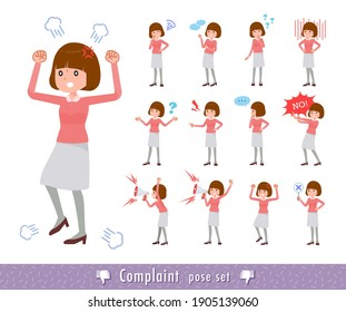 A set of women expressing their discontent.It's vector art so easy to edit.