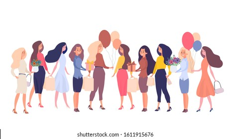 Set of women for a festive concept. Woman isolated on a white background. Good for holiday cards and banners on the theme of shopping, International Women's Day and Valentine's Day.
