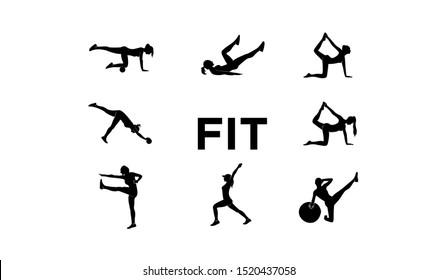 set women fitness logo illustration vector template