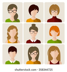 Set of women flat avatar icons in squares