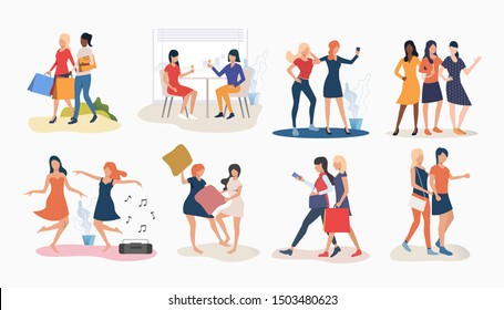 Set of women friends spending time together. Group of women enjoying themselves. Women friendship concept. Vector illustration for website, landing page, online store