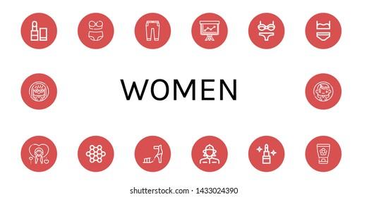 Set of women icons such as Lipstick, Bikini, Trousers, Staff, Underwear, Woman, Structure, High heel, Firewoman, Face cream , women