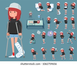 A set of women with injury and illness. There are actions that express dependence and death. It's vector art so it's easy to edit.