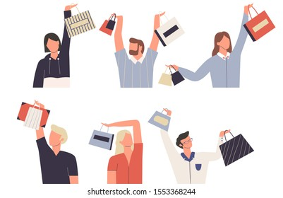 Set of women and men with shopping bags. Women who love shopping. Bundle of females and males characters holding shopping bag above his head. Flat vector illustration