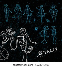 Set of women and men skeletons. Funny cartoon dead people. Elements for halloween. Night party.