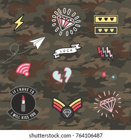 Set Of Women Military and Army Patches and Badges