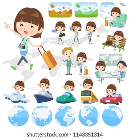 A set of women on travel.There are also vehicles such as boats and airplanes.It's vector art so it's easy to edit.