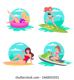 Set of women performing summer outdoor activities at beach. Girls in swimsuits sunbathing on beach. Beautiful young women enjoying summ
