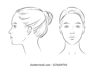 Set of women portrait vector face in profile aspect. young beautiful girl looking side and front angles. Close up black and white line sketch isolated illustration