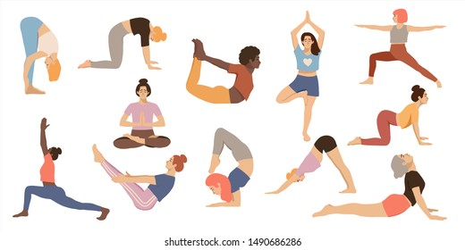 Set of women practicing yoga. Isolated female in different yoga poses on white background. Healthy lifestyle. Hand drawn flat coloured vector illustration