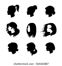 Set of women profiles silhouettes with different hairstyles